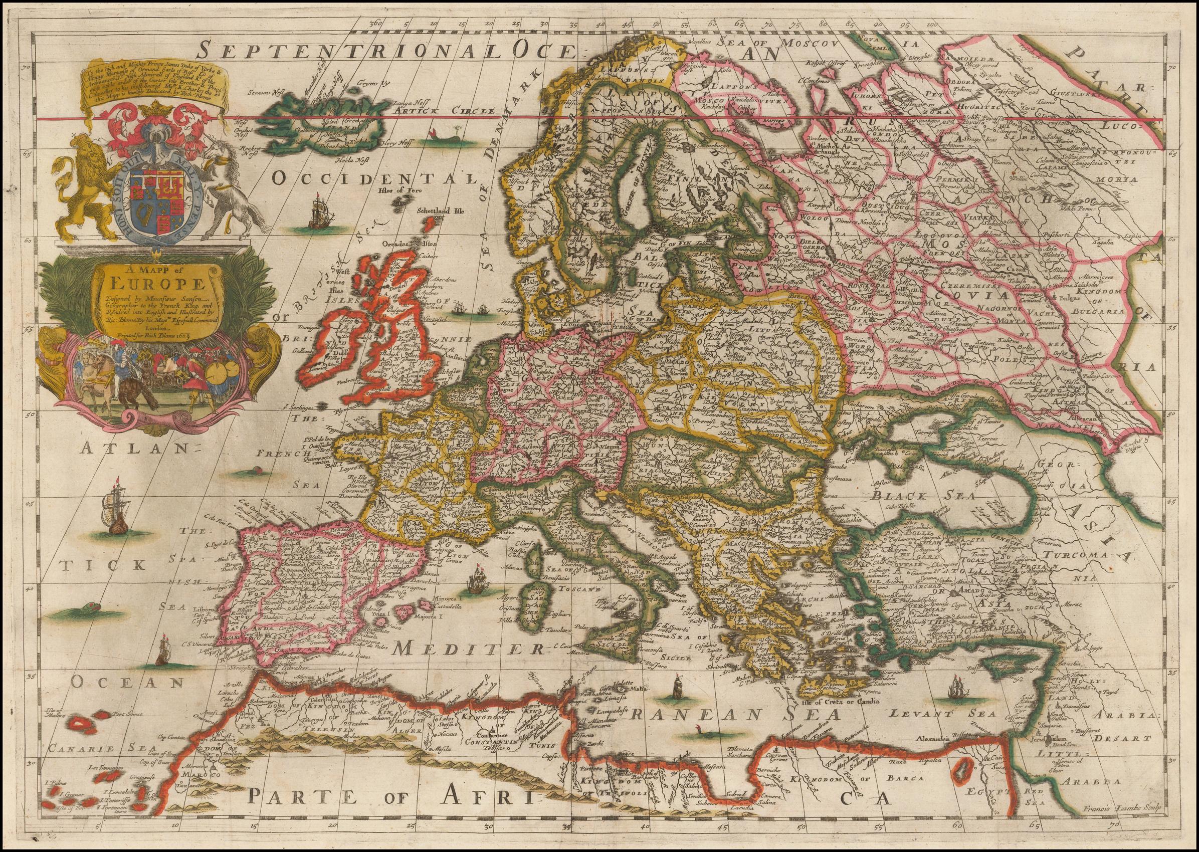 Цветная карта Европы Ричарда Блома - самая ранняя карта Европы размером с фолиант, которая была выгравирована и напечатана в Англии