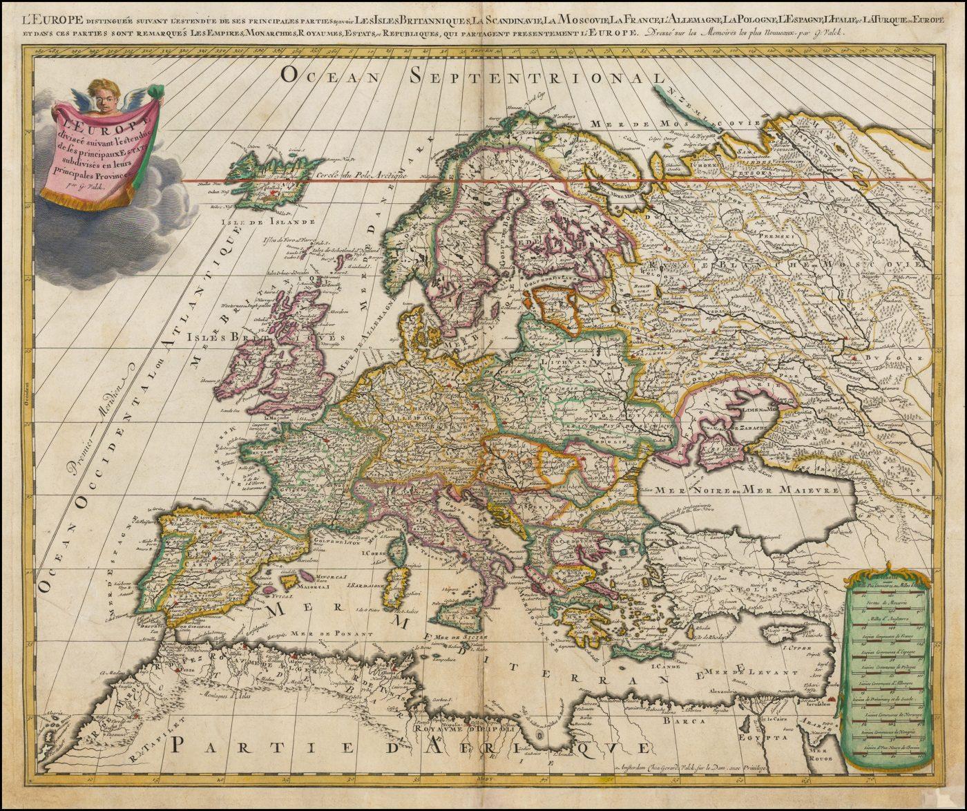 Цветная карта Европы Жерара Валка из атласа Contractus sive Mapparum Geographicarum Sansoniarum