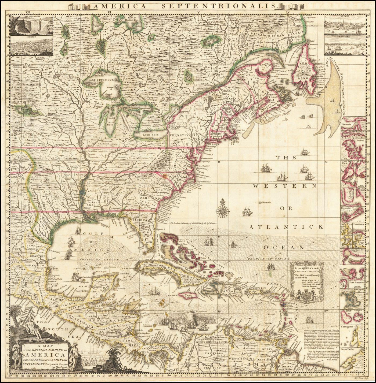 Цветной пример первого издания ключевого листа Генри Поппла, который продавался отдельно и был переплетен с его 20-листовой картой Северной Америки
