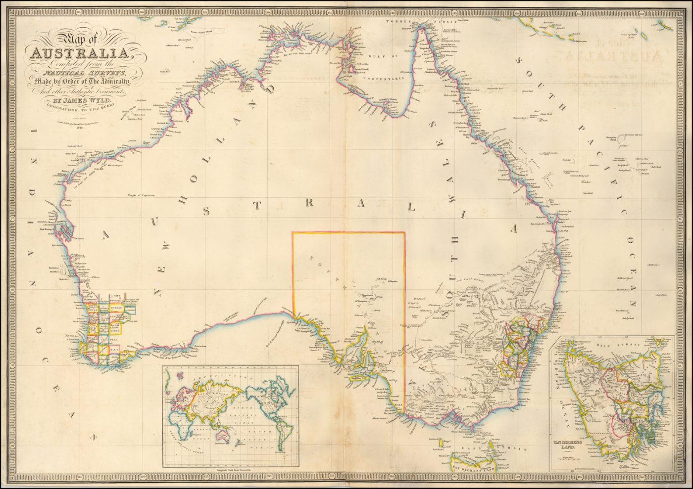 Увлекательная карта Австралии Джеймса Уайлда, включающая открытия из экспедиций вглубь страны
