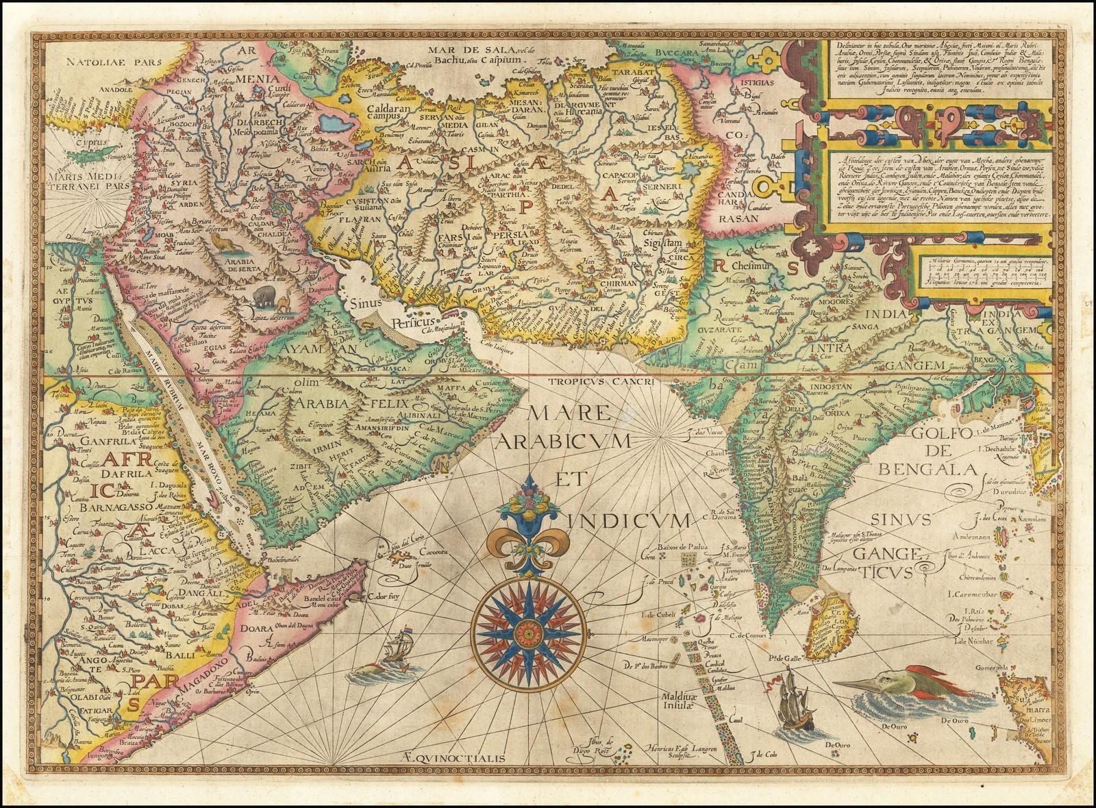 Великолепная карта региона 16-го века с центром в Индийском океане, из Linschoten'S Itinerario
