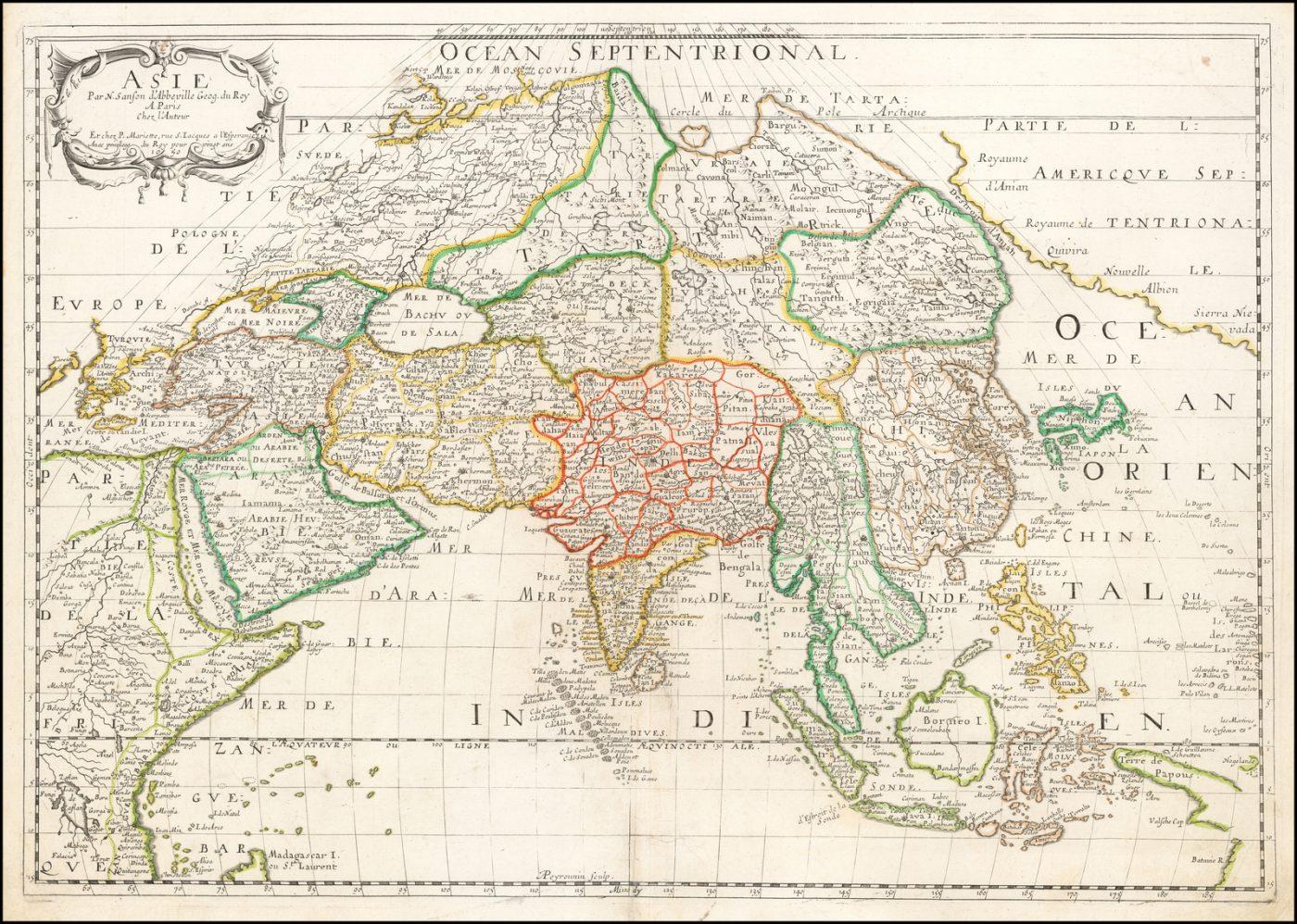 Влиятельная карта Азии Николаса Сансона, картографа короля Франции и самого влиятельного картографа середины XVII века