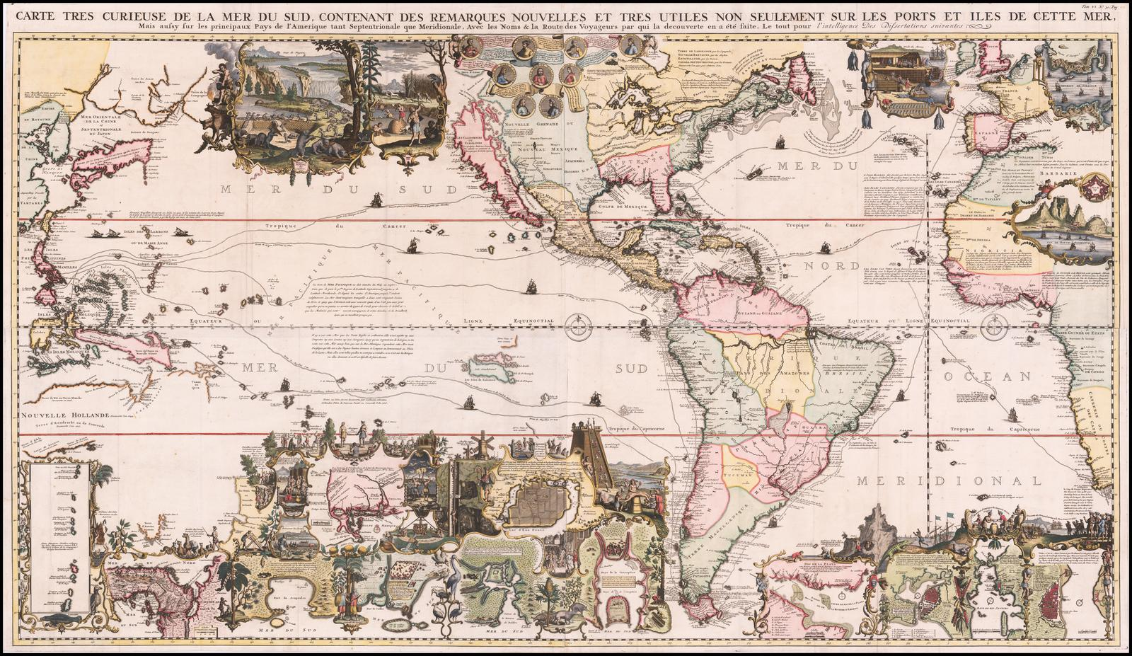 Впечатляющая карта Анри Шатлена на 4 листах с центром в Америке и указанием различных торговых и разведочных маршрутов в Тихом и Атлантическом океанах