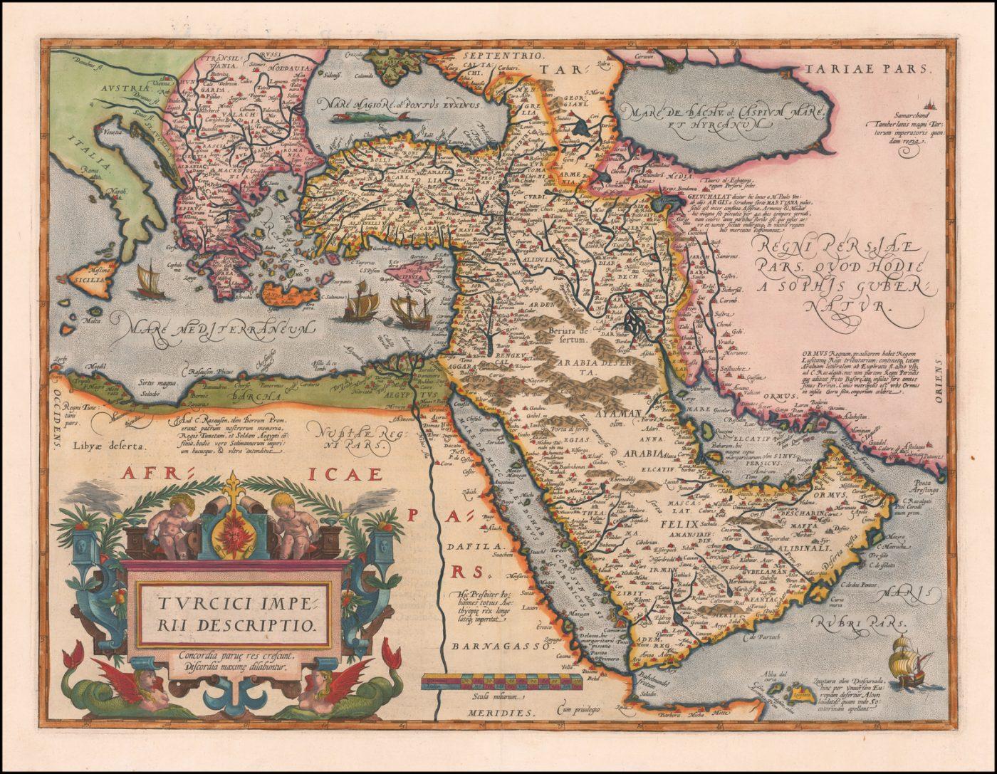 Второе издание карты Ортелиуса Турецкой империи