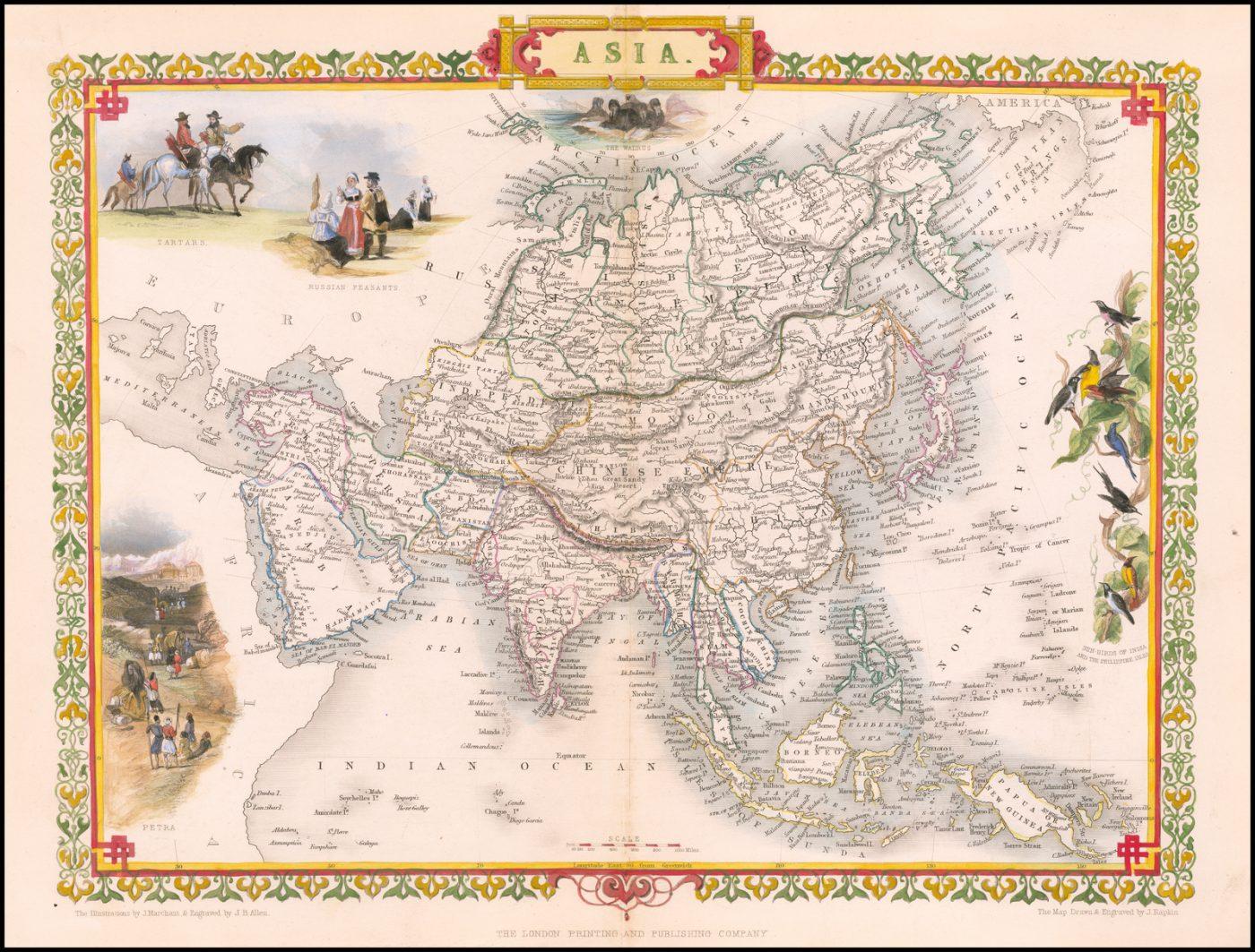 Яркая полноцветная изумительная карта Азиатского континента Джона Таллиса