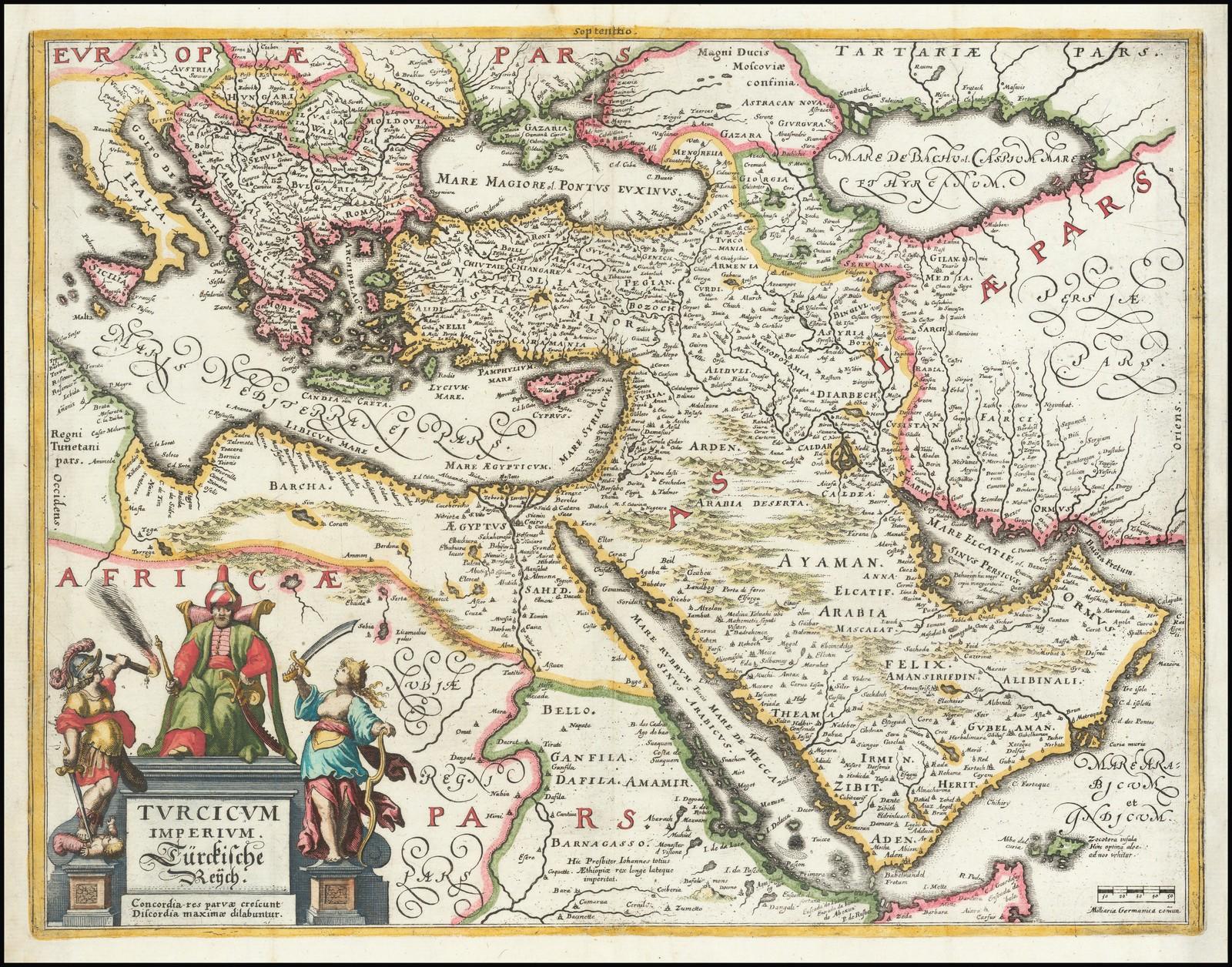 Яркий полноцветный пример Мерианской карты Турецкой империи