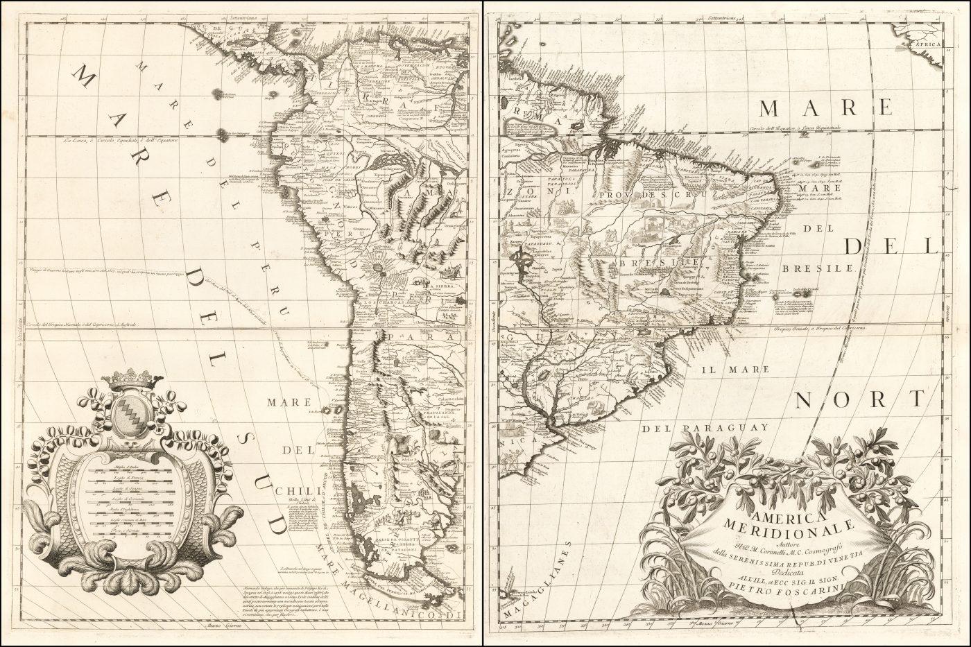 Яркий пример впечатляющей 2-листовой карты Южной Америки Коронелли, одной из самых влиятельных карт, опубликованной в конце 17 века