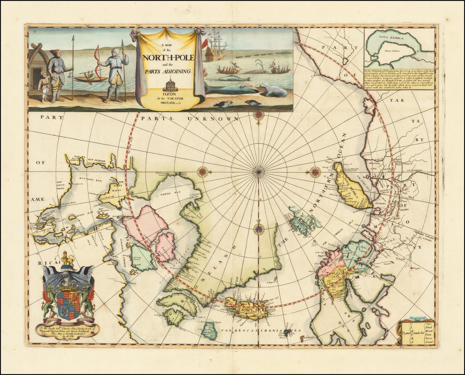 Замечательная Раннеанглийская карта северных полярных областей
