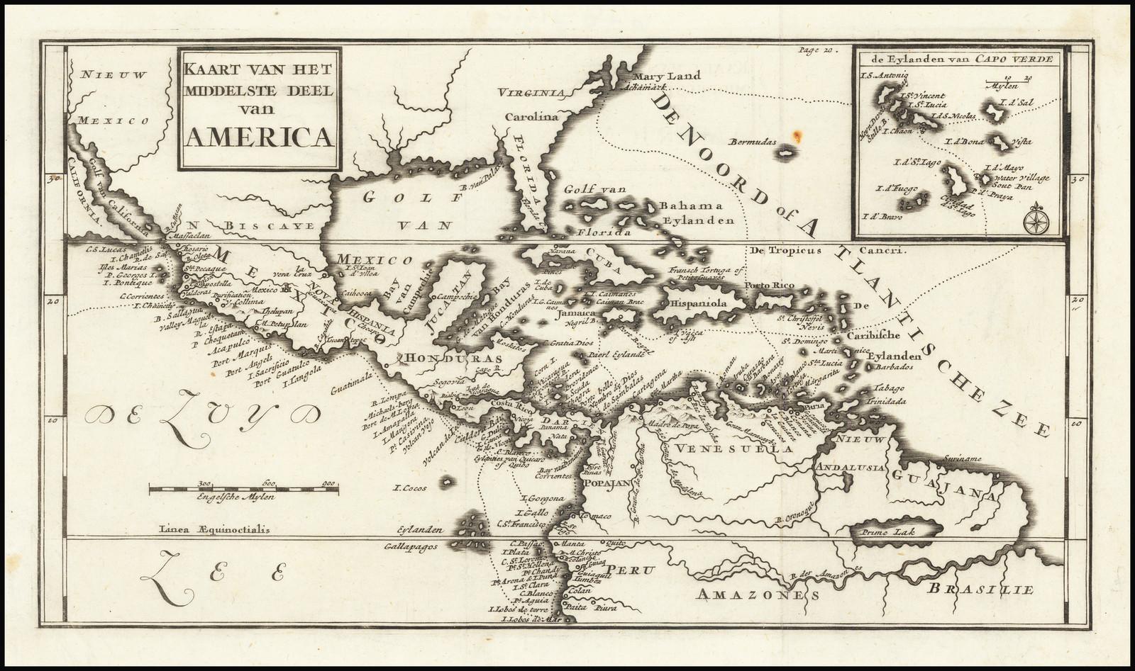 Живописная карта вошедшая в голландское издание отчета о путешествиях Дампира