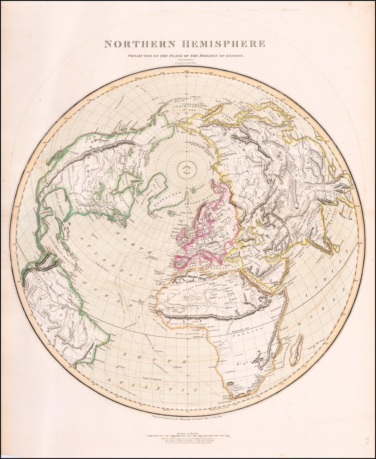 Интересная и очень подробная карта Северного полушария, опубликованная Джоном Томсоном