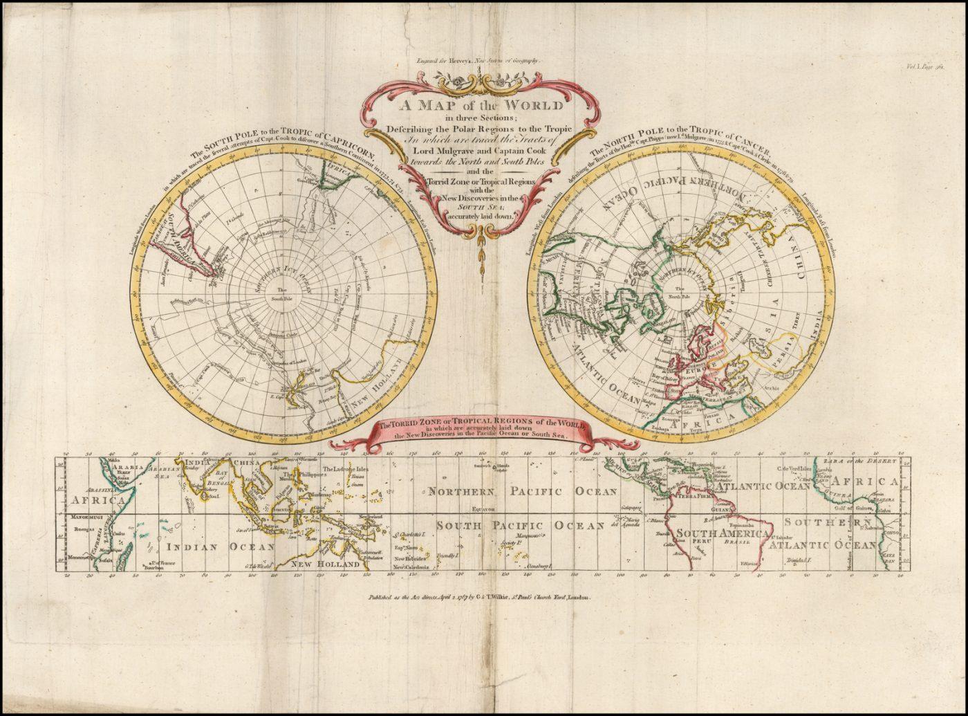 Карта из географии Херви, показывающая путешествия Кука и Фиппса к полюсам