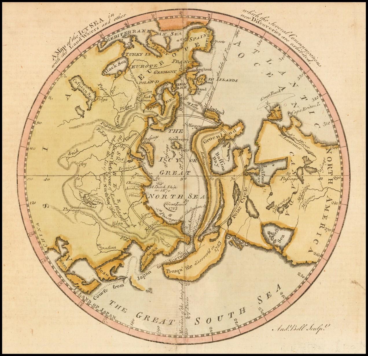 Карта ледяного моря, на которой показаны несколько сообщений с сухопутными водами и другие открытия