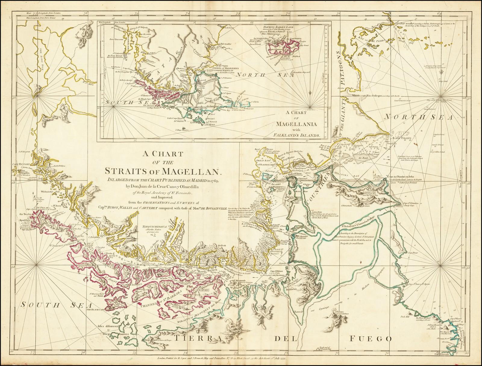 Карта Магелланова пролива, на основе данных опубликованных в Мадриде в 1769 году Доном Хуаном де ла Крус Кано-и-Ольмедилья