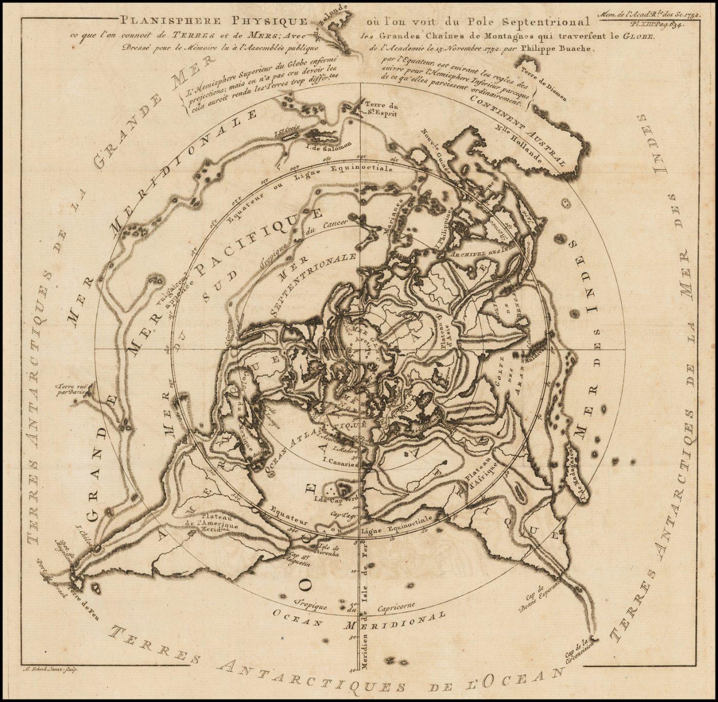 Карта мира Буаша с водораздельным горизонтом, на северной полярной проекции