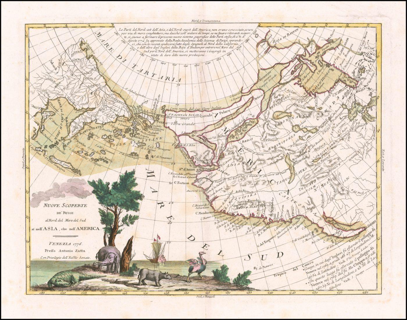 Карта северного побережья Тихого океана, составленной Заттой, и одна из лучших иллюстраций позднего варианта Северо-Западного прохода, иллюстрирующая два широких прохода от Тихого океана до Гудзонова залива