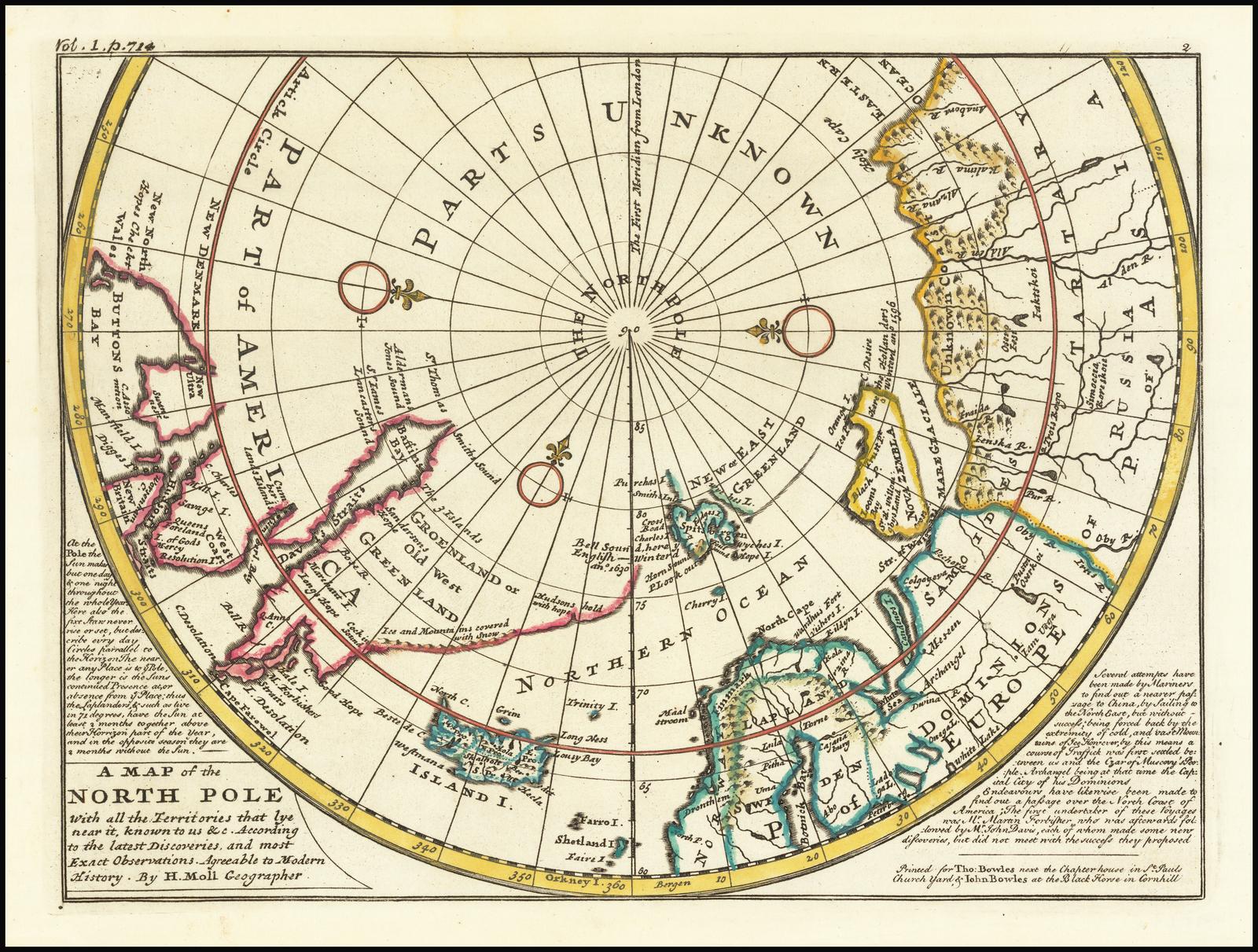Карта северных полярных областей 18 века Германа Молла