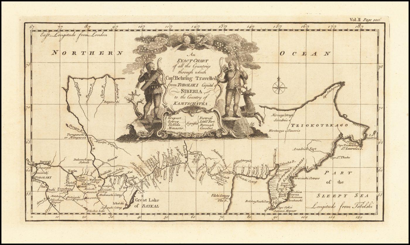 Первая англоязычная карта, показывающая маршрут Витуса Беринга