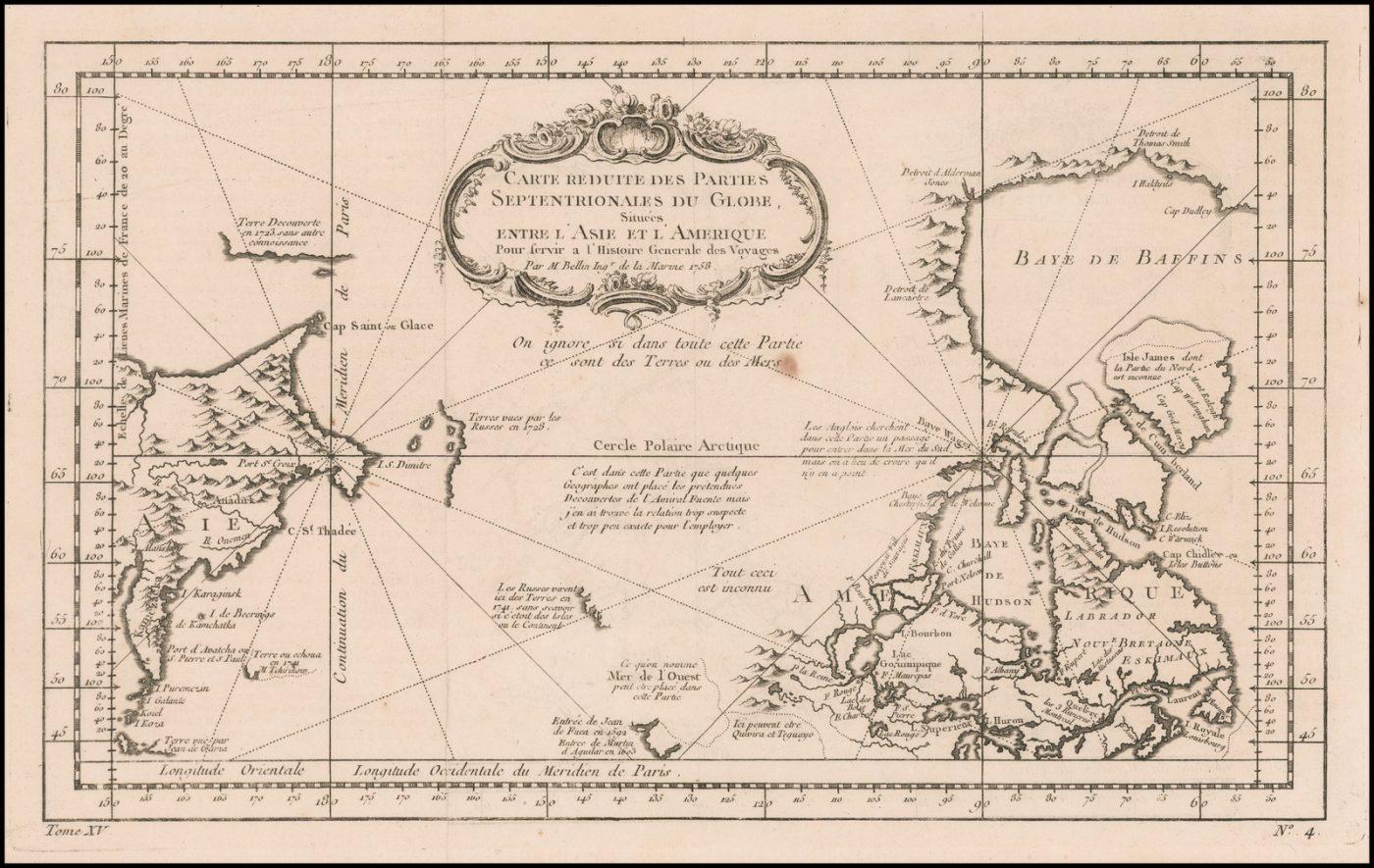 Подробная морская карта береговых линий и частей внутренних районов Канады, Аляски и Тихого океана, опубликованная Николасом Беллином в 1758 году