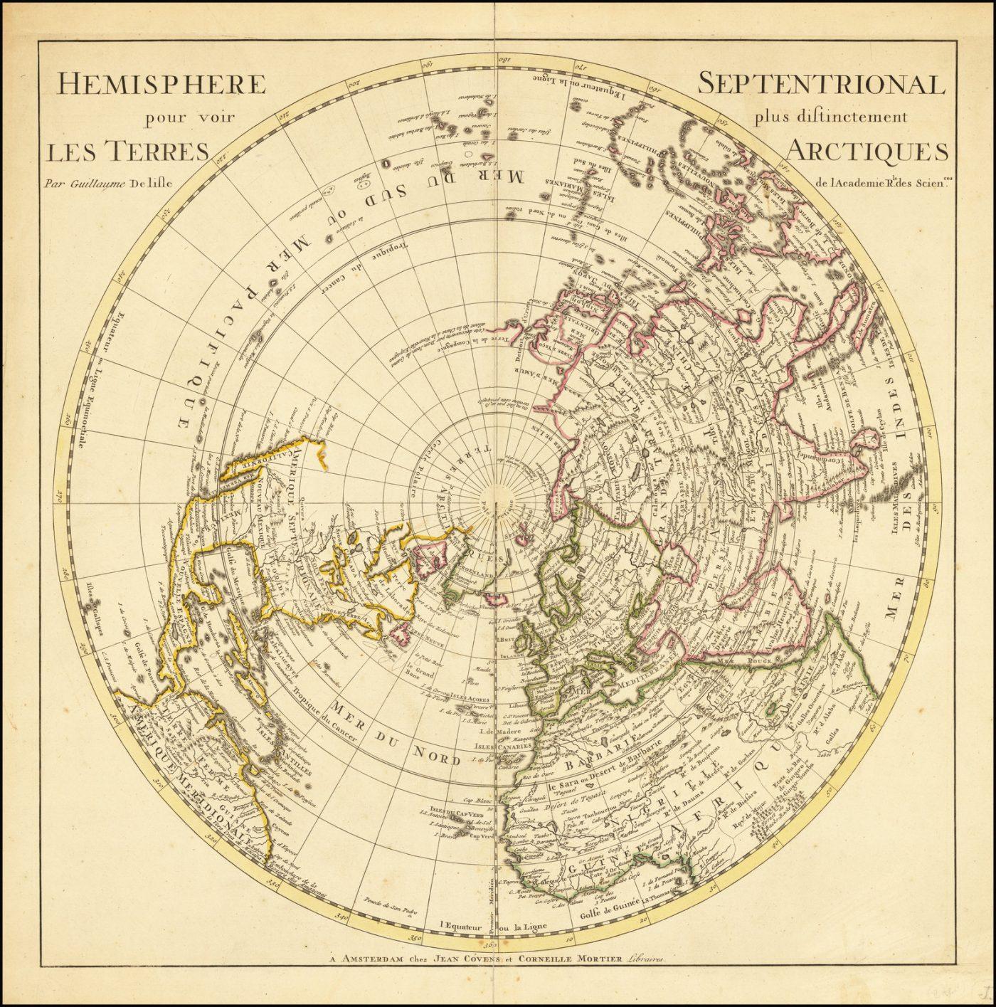 Прекрасная карта Северного полушария от Гийома де Л'Иля