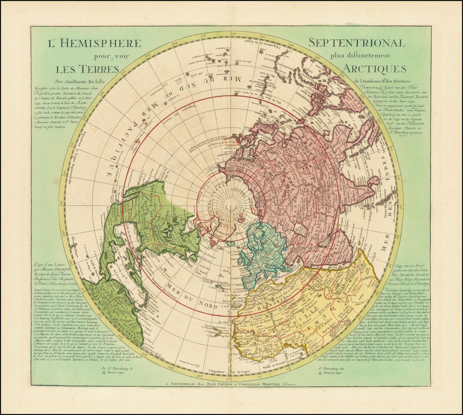 Прекрасная карта Северного полушария с последними русскими открытиями в Северо-Восточной Азии