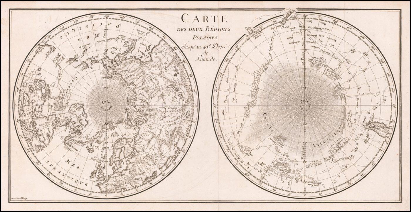 Старинная карта мира в двойной полусферической полярной проекции