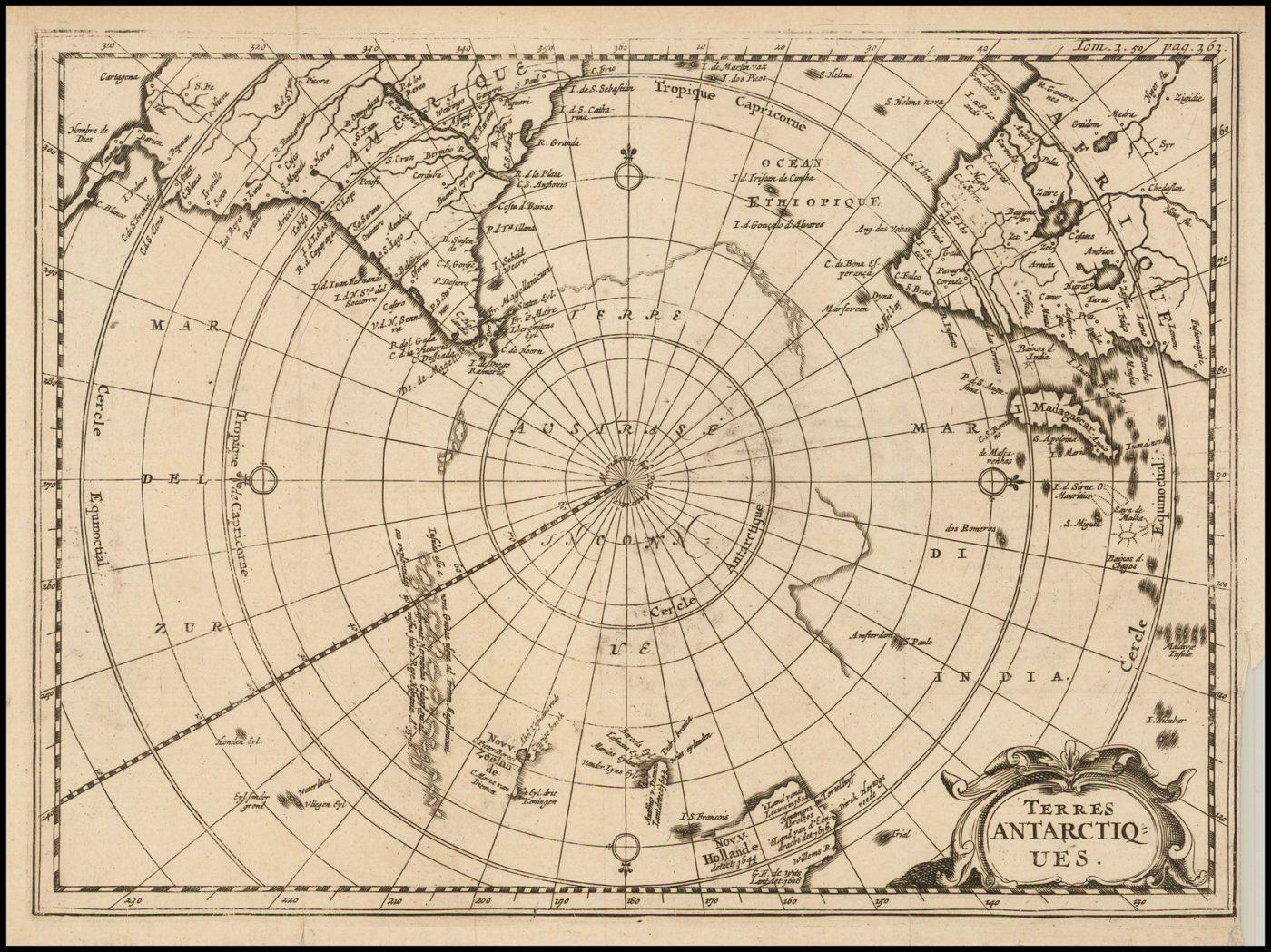 Старинная полярная карта Анри Дю Соза 1738 года