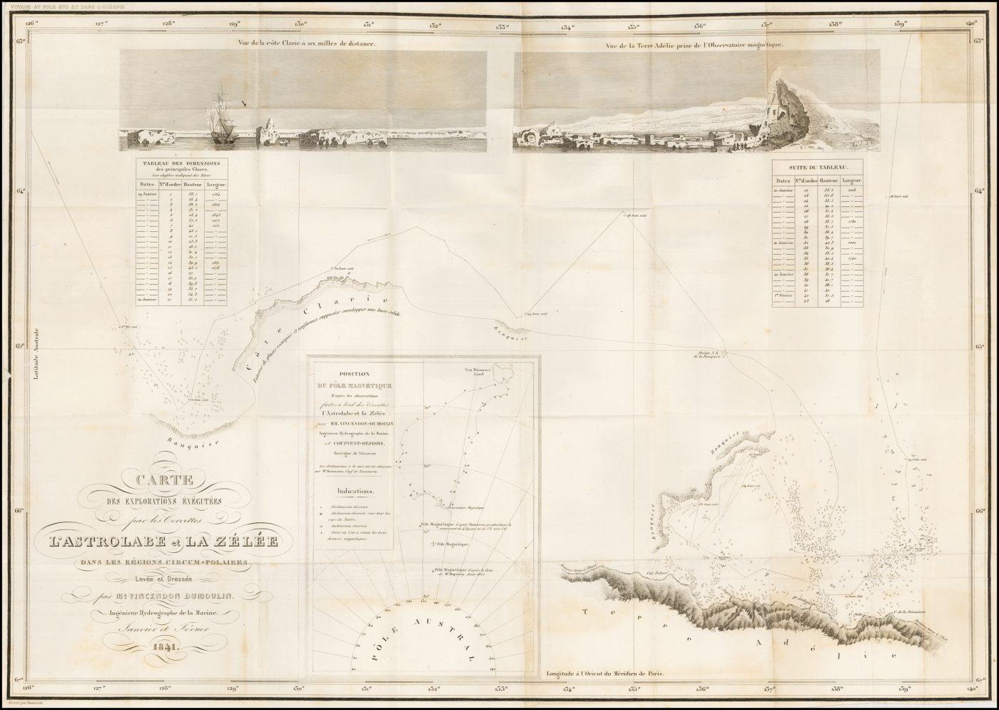 Большая гравированная складная карта антарктического побережья к югу от Земли Ван-Димена