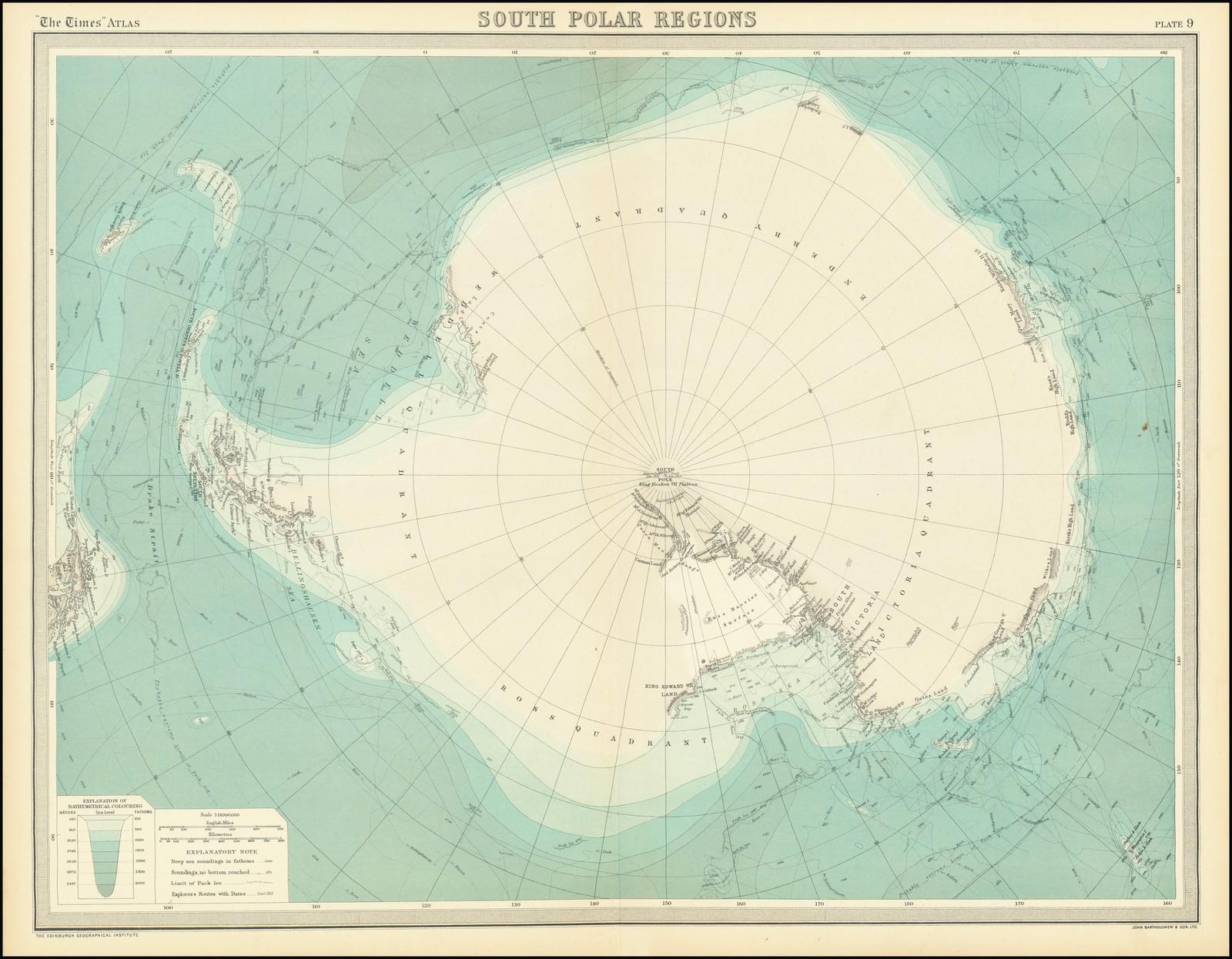 Карта Антарктиды, опубликованная в то время, когда контуры континента только начинали обретать очертания