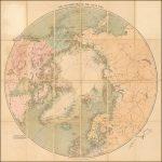 Карта северных полярных областей, составленная Эдвардом Стэнфордом и включающая самые отдаленные точки, до которых добирались многочисленные исследовательские экспедиции