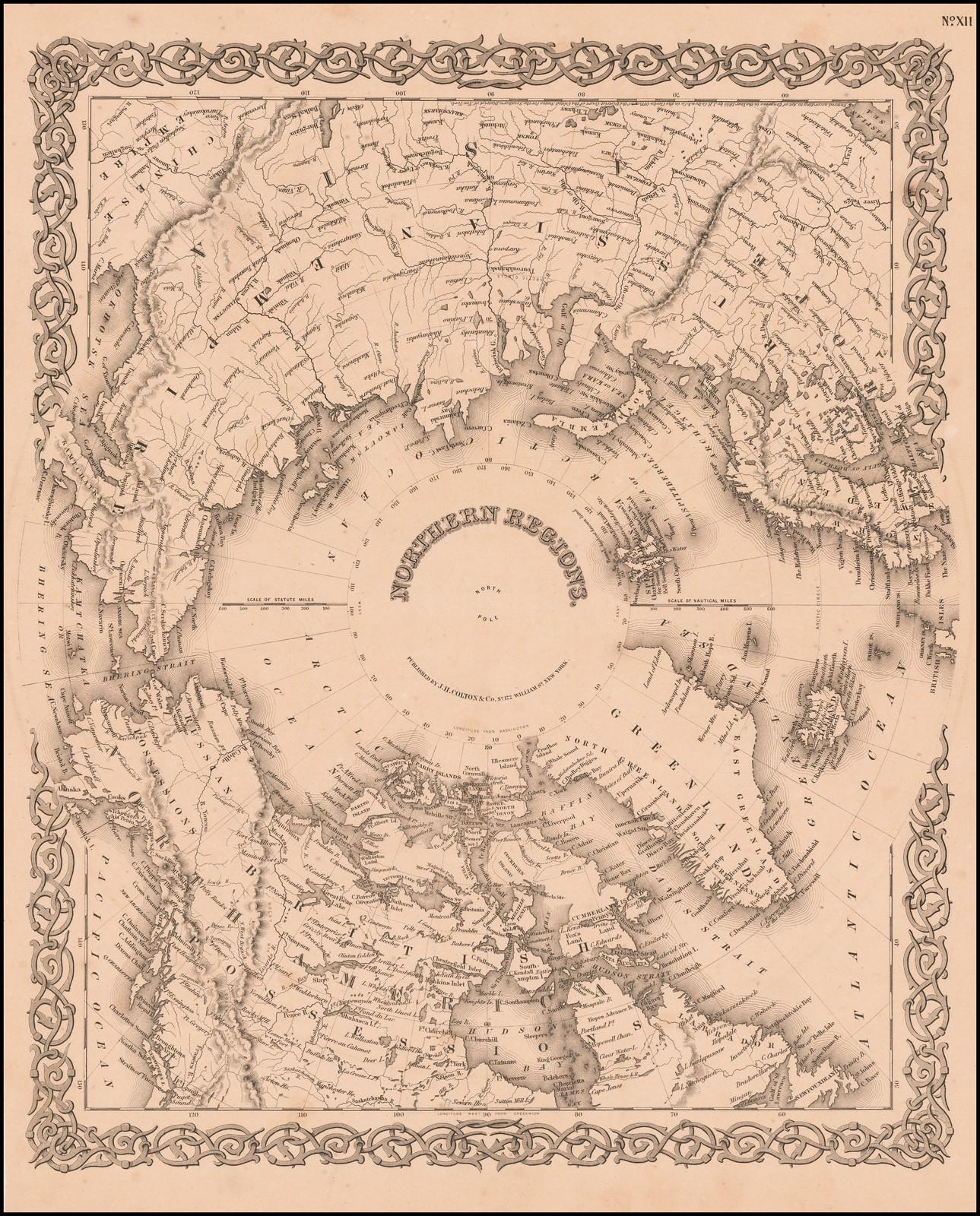Подробная карта регионов вокруг Северного полюса, опубликованная Джозефом Колтоном в Нью-Йорке